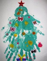 Рисунки к Новому Году пальчиковыми красками