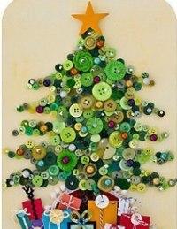 """Поделка """"Новогодняя елка"""" из пуговиц"""