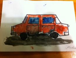 """Рисунок с пластилином """"Машинка"""""""